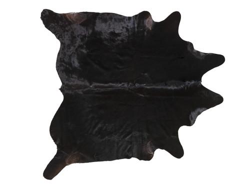 """BLACK WITH BROWN COWHIDE 72"""" x 90"""""""