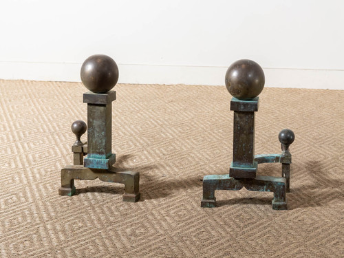 ANTIQUE CANNONBALL ANDIRONS