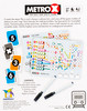 Metro X back of box - buy flip and write games from Out of Town Games