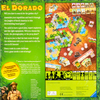 Back of the box of The Quest for El Dorado. Buy the deck building racing board game from Out of Town Games