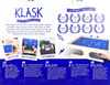 KLASK Back of the box, buy the two player dexterity game from Out of Town Games