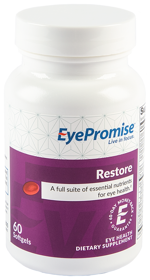 EyePromise Restore is a daily eye vitamin designed for patients who are at risk for or have early signs of age-related eye health issues.