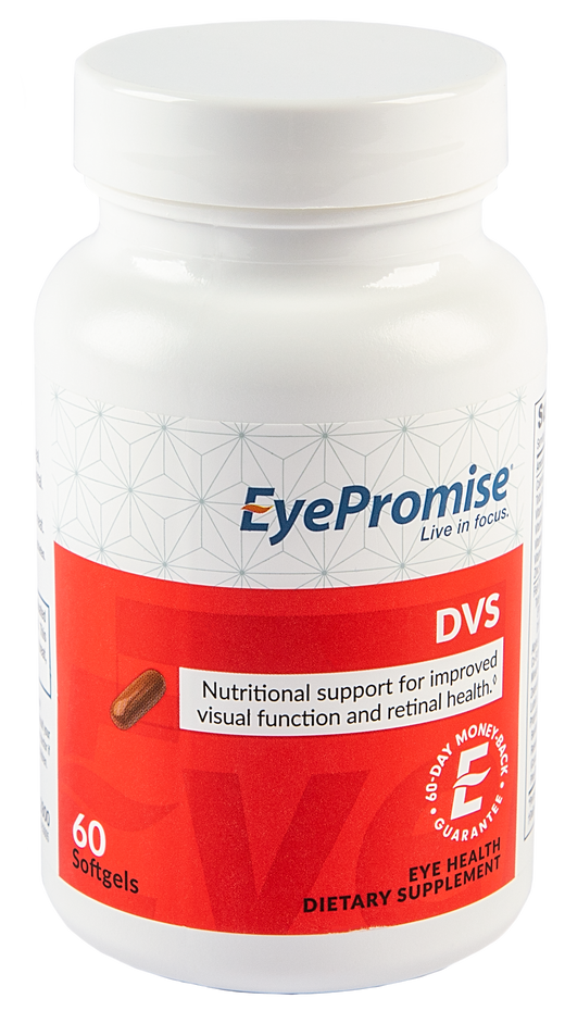 EyePromise DVS is an eye health nutraceutical designed to support eye health in patients with diabetes or other vascular health issues.