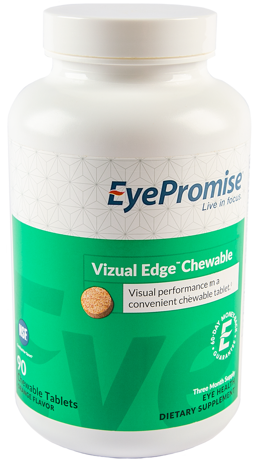 EyePromise Vizual Edge Chewable is an eye health nutraceutical designed to deliver essential nutrients in a citrus-flavored chewable tablet.