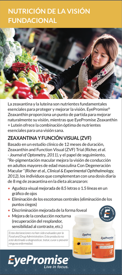 EyePromise Zeaxanthin/Zx+Lt Patient Brochure - Spanish