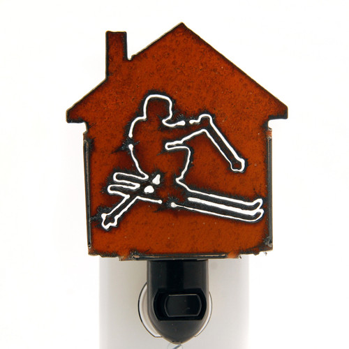 Rustic Metal Nightlight - Skier