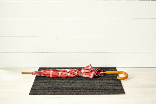 Skinny Stripe Shag Doormat, Steel - 18x28
