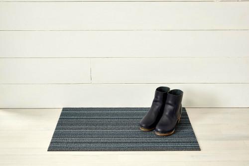 Skinny Stripe Shag Doormat, Blue - 18x28