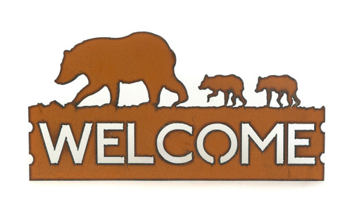 Rustic Welcome Sign with Bear Family