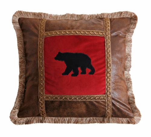 Bear on Red Velvet Pillow