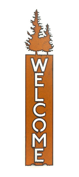 Rustic Welcome Sign with Pines