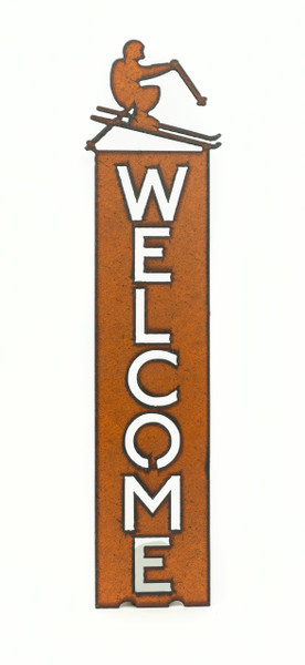 Rustic Welcome Sign with Skier