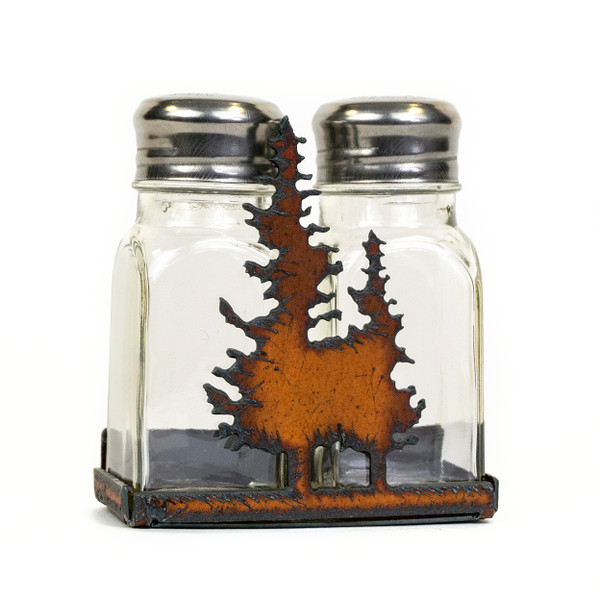 Rustic Salt and Pepper Holder with Trees