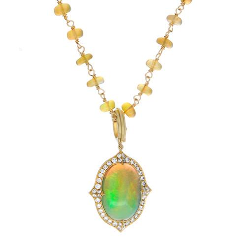 "Opal and Diamond ""Vanua"" Pendent"