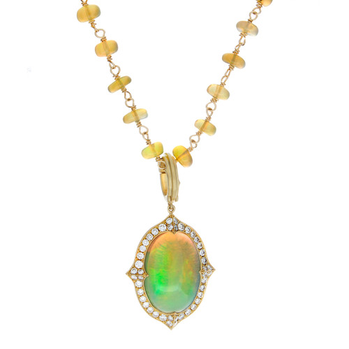 "Opal and Diamond ""Vanua"" Pendent"