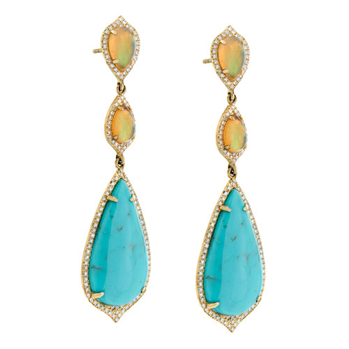 "Opal & Turquoise ""Sunset"" earring"