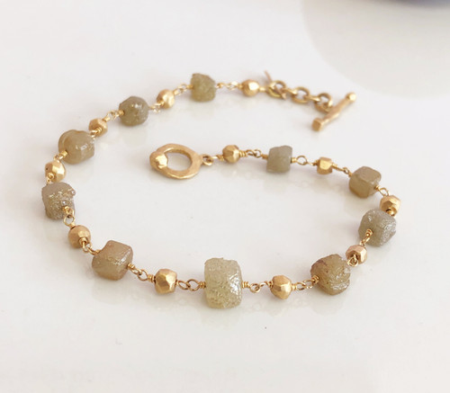 Cube Diamond and 18K Gold Bracelet