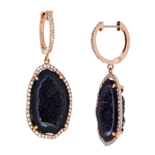Natural Black Geode surrounded by round cut diamonds set in 14K rose gold