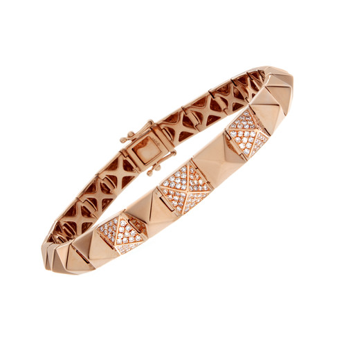 Rose Gold Pyramid Bracelet three quarter view