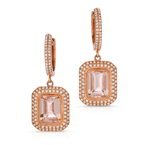front photo of morganite earrings