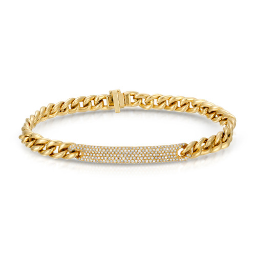 front view of diamond id bracelet