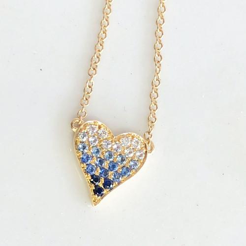 diamond & sapphire ombre heart necklace