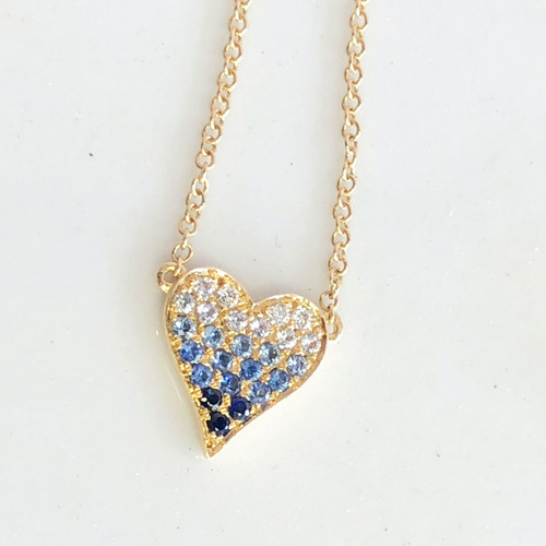 diamond & sapphire ombre heart necklace close up view
