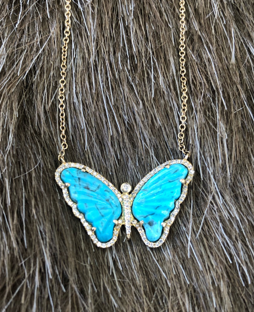 Turquoise & Diamond Pendent