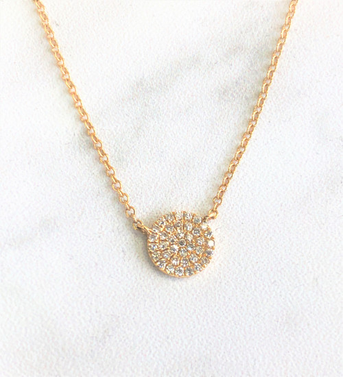 diamond dot necklace front view