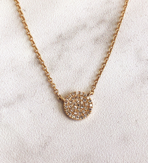 Diamond 14K yellow gold Disc with chain