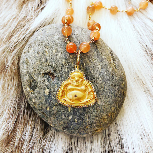 buddha pendent shown with moonstone necklace *not included