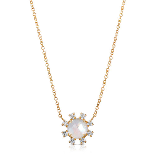 yellow gold moonstone and diamond pendent
