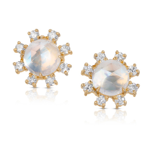"""Jupiter"" Moonstone earring with diamonds front picture"