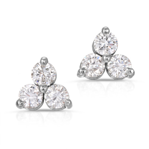 front view of tri diamond earring