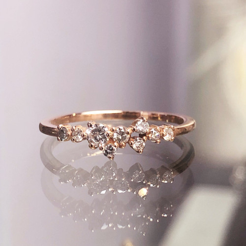 close up of diamond tiara ring