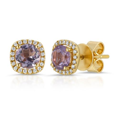 Amethyst 14K yellow earrings with diamonds