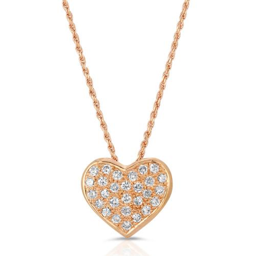 rose gold diamond pave heart pendent