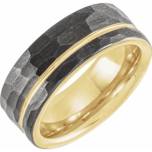 tungsten 18K yellow gold PVD men's ring