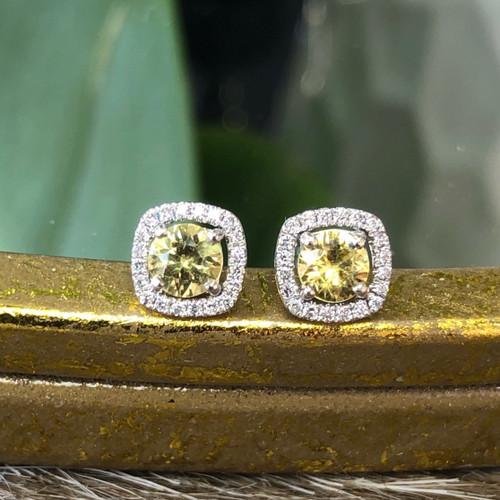 Yellow sapphire diamond earring
