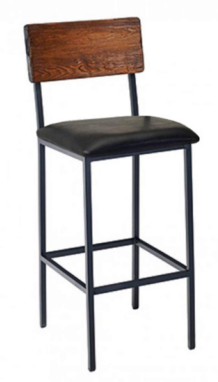 Pleasant Reclaimed Wood Bar Stool Industrial Steel Frame Optional Upholstered Seat Short Links Chair Design For Home Short Linksinfo