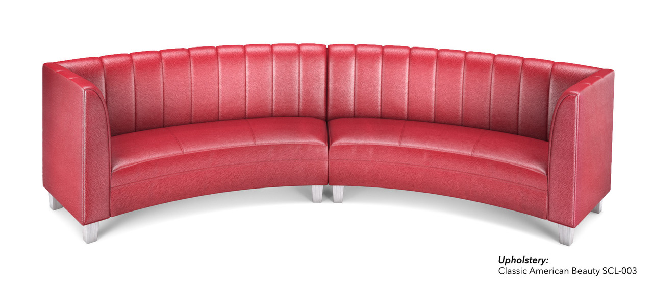 OPERA Vertical Channel -• Curved Sofa with Arms -• Made in USA