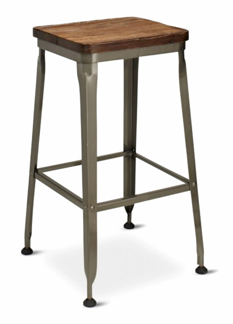 Prime Walnut Finish Reclaimed Wood Backless Bar Stool Distressed Industrial Steel Frame Ibusinesslaw Wood Chair Design Ideas Ibusinesslaworg