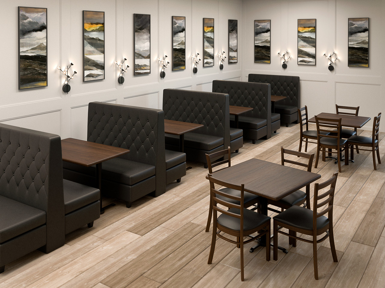 Custom Banquette Double Booths Restaurant Tables Restaurant Chairs Made In Usa Restaurant Complete Interior Solution 19 Modernlinefurniture