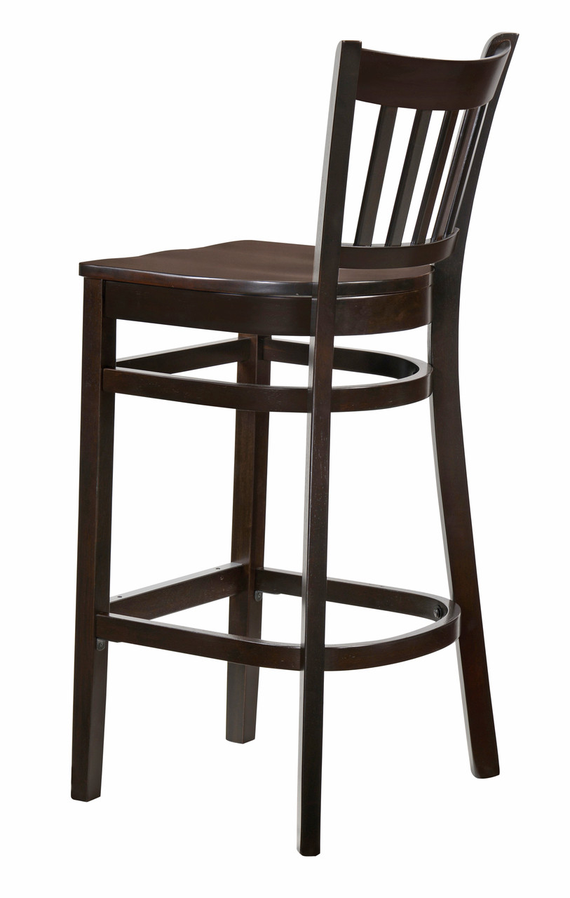 Magnificent Saddle Seat Vertical Back Commercial Grade Bar Stool With Walnut Finish Beechwood Frame Dailytribune Chair Design For Home Dailytribuneorg