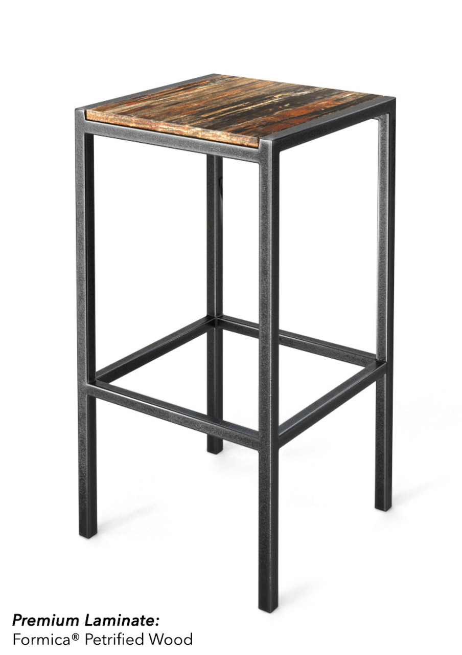 Picture of: Backless Battleship Gray Heavy Duty Frame Bar Stool Wood Laminated Back And Seat 350lbs Support Modernlinefurniture