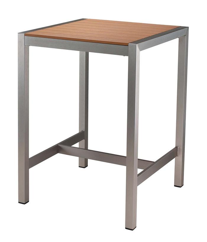 Restaurant Bar Teak Table with Brush Aluminum Frame ...