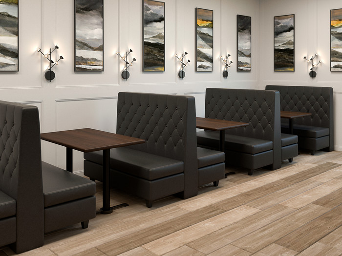 Custom Banquette Double Booths, Restaurant Tables, Restaurant Chairs on
