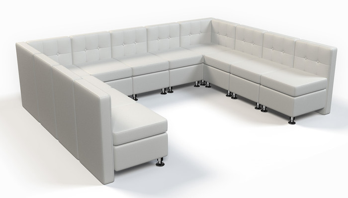 9048 Modular Component Large U Shape Sofa Tufted Back Flat Seat