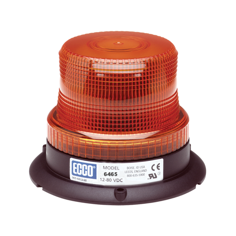 ECCO 6465 LED Beacon: Low profile, 12-80VDC, Pulse8 Flash, Amber