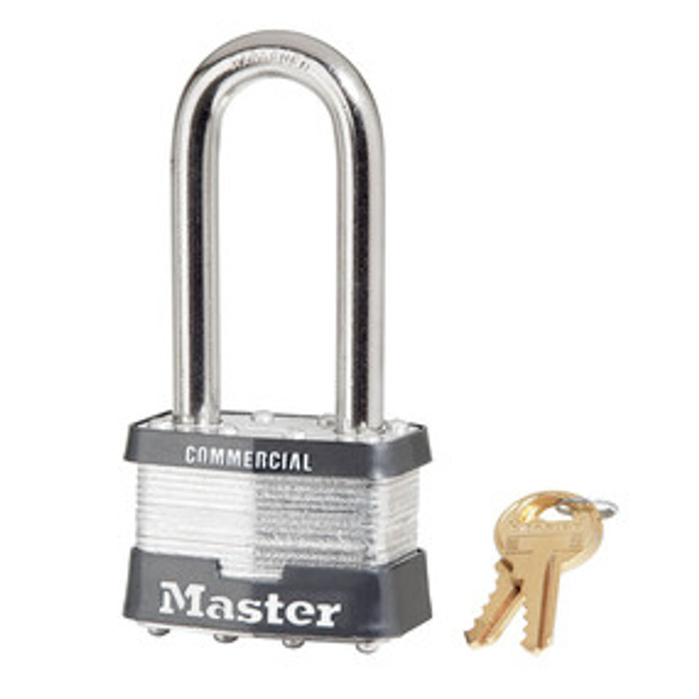 Master Lock 5KALJ 2in (51mm) Wide Laminated Steel Pin Tumbler Padlock with 2-1/2in (64mm) Shackle, Keyed Alike
